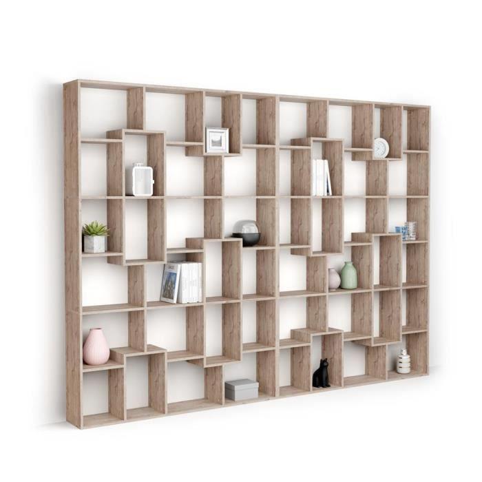 Mobili Fiver, Bibliothèque XL Iacopo (236,4 x 321,6 cm), Chêne naturel, Mélaminé, Made in Italy