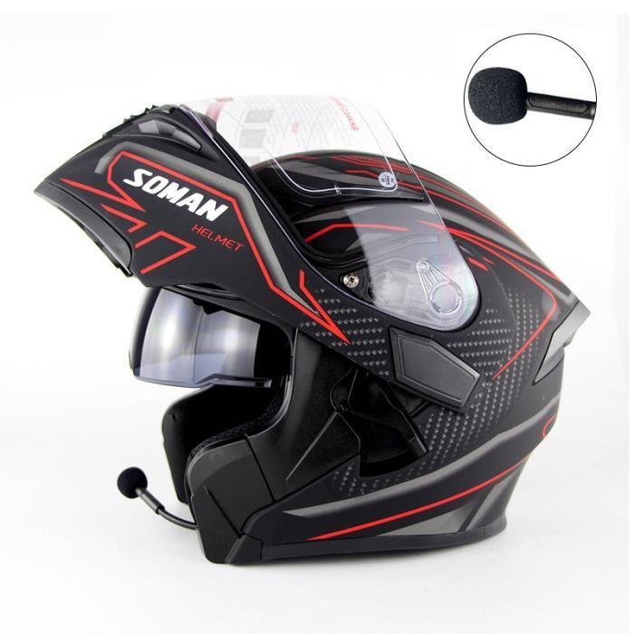 Casque moto modulable Adulte Unisex casque moto Bluetooth flip-up Off-Road Racing Touring Casco scooter pour la ville et urbain