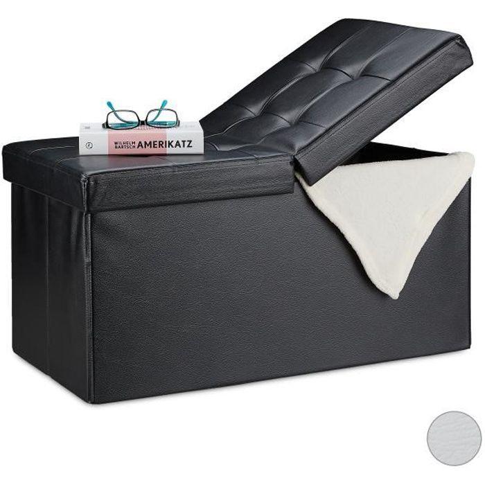Relaxdays Banquette, avec espace de rangement, pliable, Apparence en cuir, couvercle rabattable, Banc-coffre, noir - 4052025916909