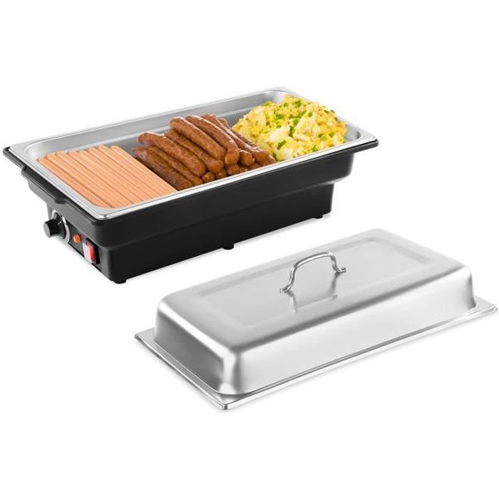 Chauffe-plat électrique Pro Bain-Marie Réchaud pour buffet Incl Récipient GN 1/1 Inox 8L 900W Royal Catering RCCD-1/1-65-KS-E