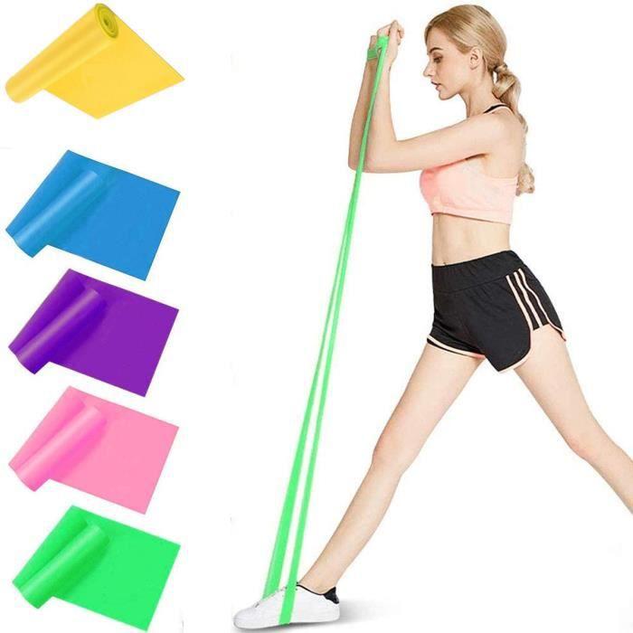Ensemble de bandes de résistance SlowTon, pack de 5 bandes d'exercice élastiques en latex de sécurité non toxique de 1,5 m