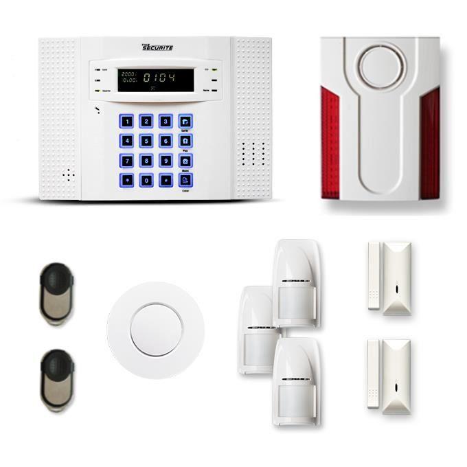 Alarme maison sans fil DNB 2 à 3 pièces mouvement + intrusion + détecteur de fumée + sirène extérieure - Compatible Box internet