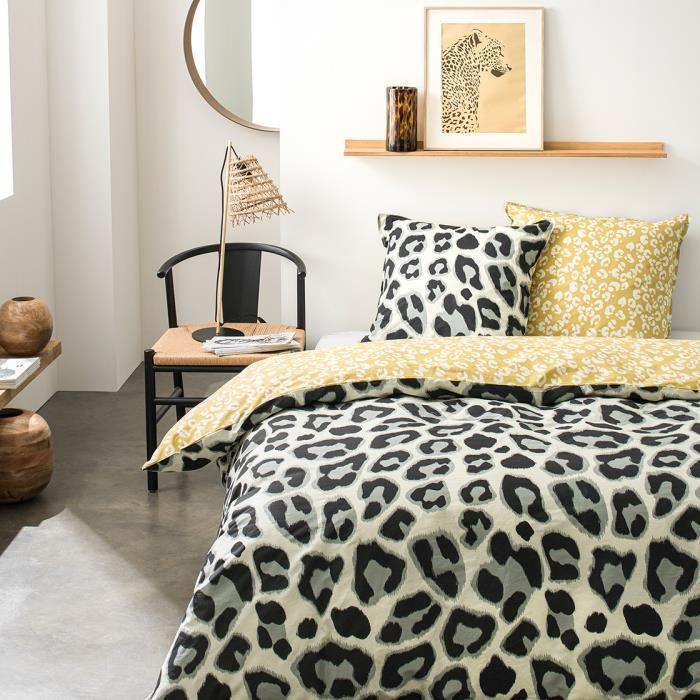 TODAY Parure de couette 100 % Coton 220x240cm SUNSHINE #3.44 - Gris et jaune