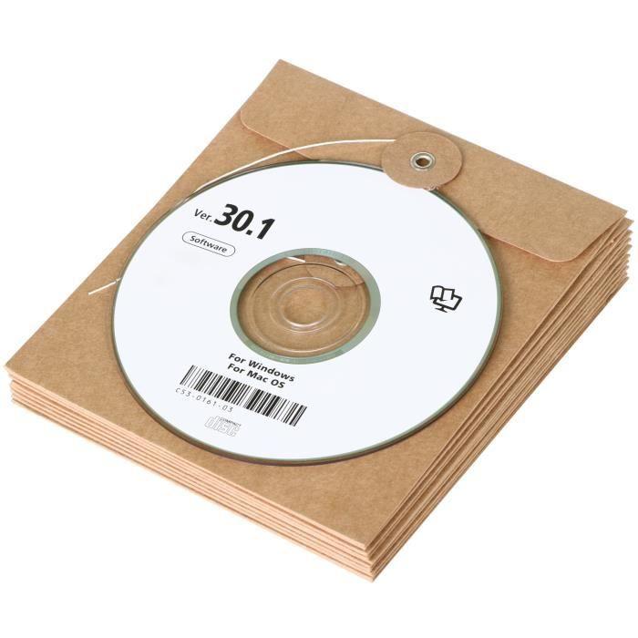 TRIXES Lot de 10 Pochettes Enveloppes Marron en Carton pour CD