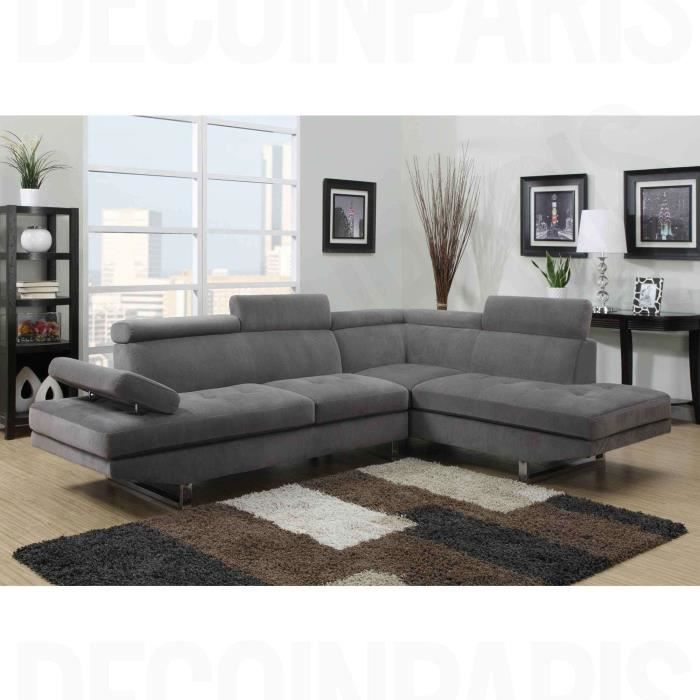 CANAPÉ - SOFA - DIVAN Canapé d'angle design RUBIC en tissu gris
