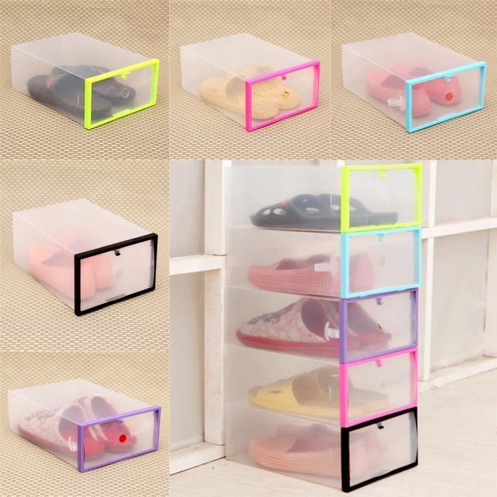 BOITE DE RANGEMENT Pliable empilable en plastique transparent tiroir