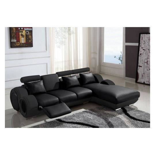 canap d 39 angle cuir relax design noir vilnus achat vente canap sofa divan cuir bois. Black Bedroom Furniture Sets. Home Design Ideas