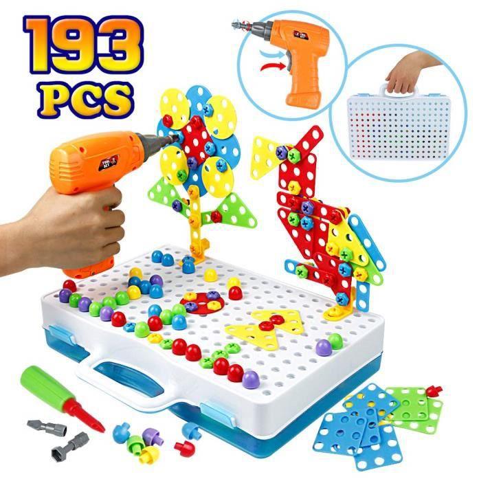 Mosaique Enfant Puzzle 3D Construction Enfant Jeu Montessori Kit Mosaique 193 Pcs pour Enfant ...