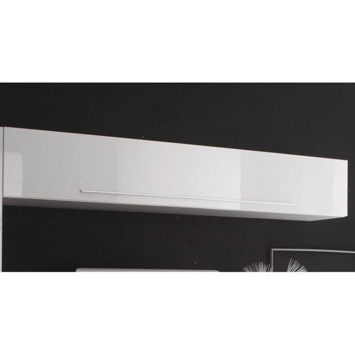 Meuble mural suspendu design laqu blanc azur 2 achat for Meuble mural laque brillant design