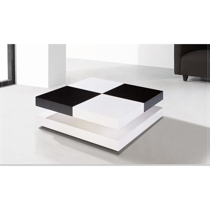 Table basse laqu e noir et blanc chelsea achat vente for Table de salon blanc