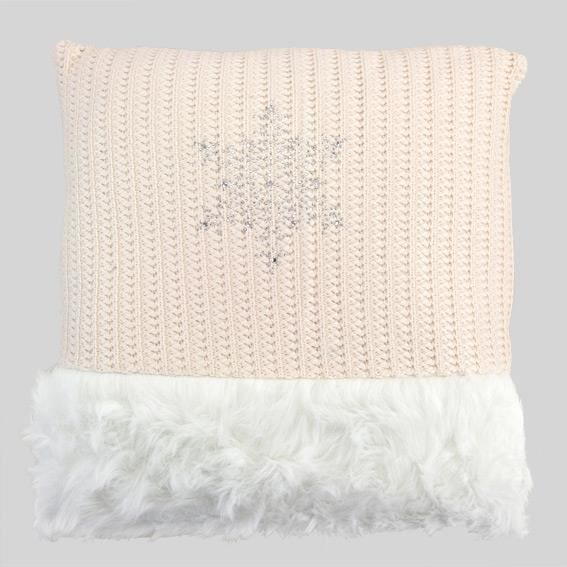 Coussin Imitation Fourrure Tricot Rose Achat Vente Coussin Cdiscount