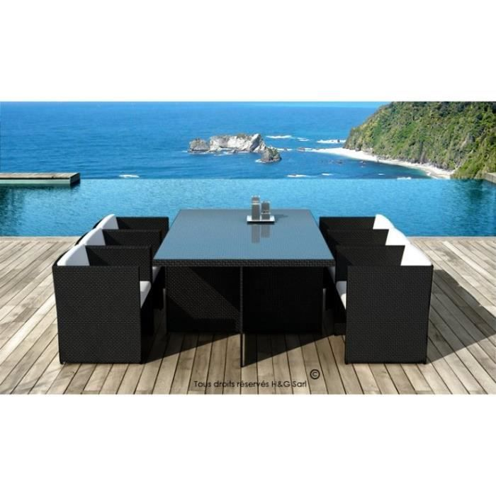 salon de jardin 6 places encastrables noir acier achat. Black Bedroom Furniture Sets. Home Design Ideas