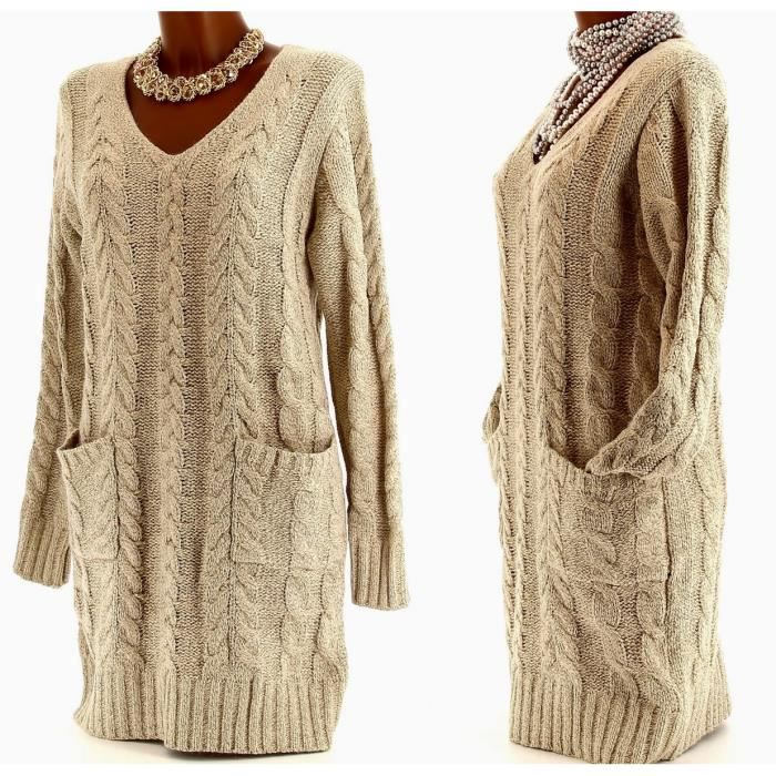 Robe Pull Long Tricot Laine PAULINE Femme C Beige Achat