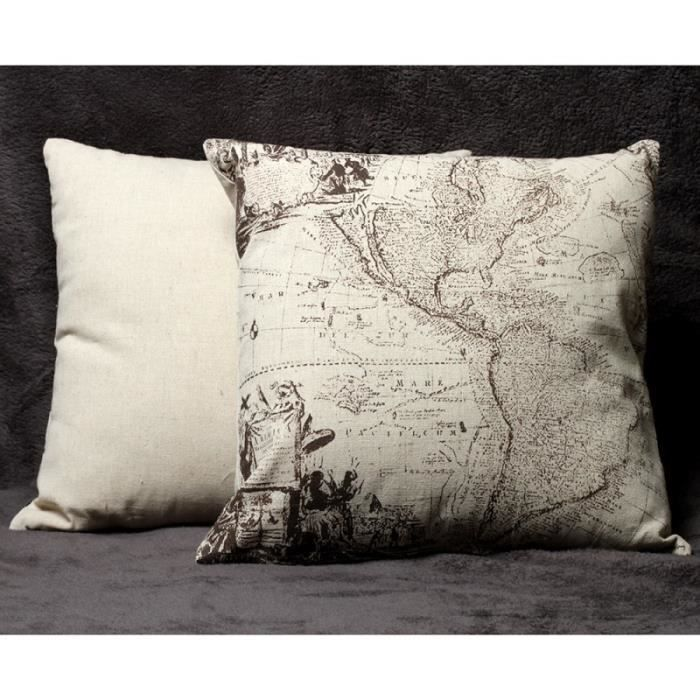 housse coussin world map 40 x 40 cm achat vente housse. Black Bedroom Furniture Sets. Home Design Ideas