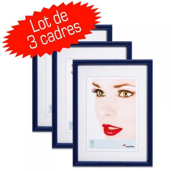 lot de 3 cadres photo galeria 13x18 bleu achat vente cadre photo cdiscount. Black Bedroom Furniture Sets. Home Design Ideas