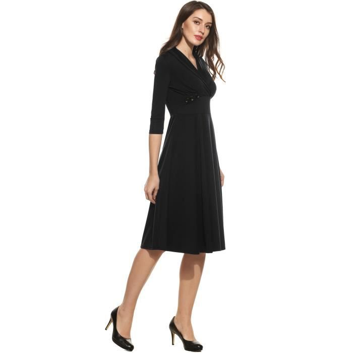 Robe Femmes Casual manches 3-4 solide V Neck