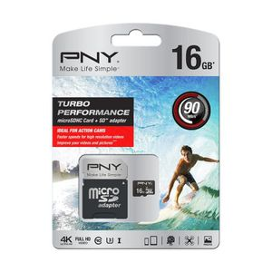 CARTE MÉMOIRE PNY Micro SD HC Turbo Performance 16 Go
