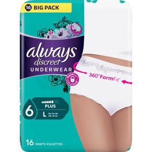 SERVIETTE HYGIÉNIQUE ALWAYS Discreet underwear Culottes pour fuites uri