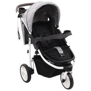 POUSSETTE  Poussette bébé à 3 roues Gris et noir