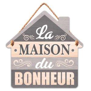 Les Tr/ésors De Lily - 30x8.5 cm Q5959 - Plaque fl/èche Bois Messages Bleu La Maison du Bonheur