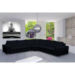 CANAPÉ - SOFA - DIVAN Canapé d'angle design 6 places CARI noir