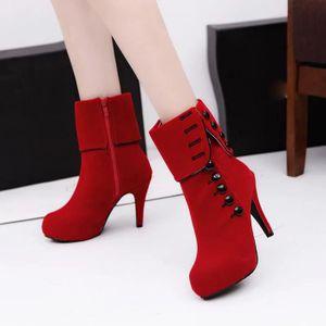 BOTTE Femmes Bottines Hauts Talons Mode Rouge Chaussures