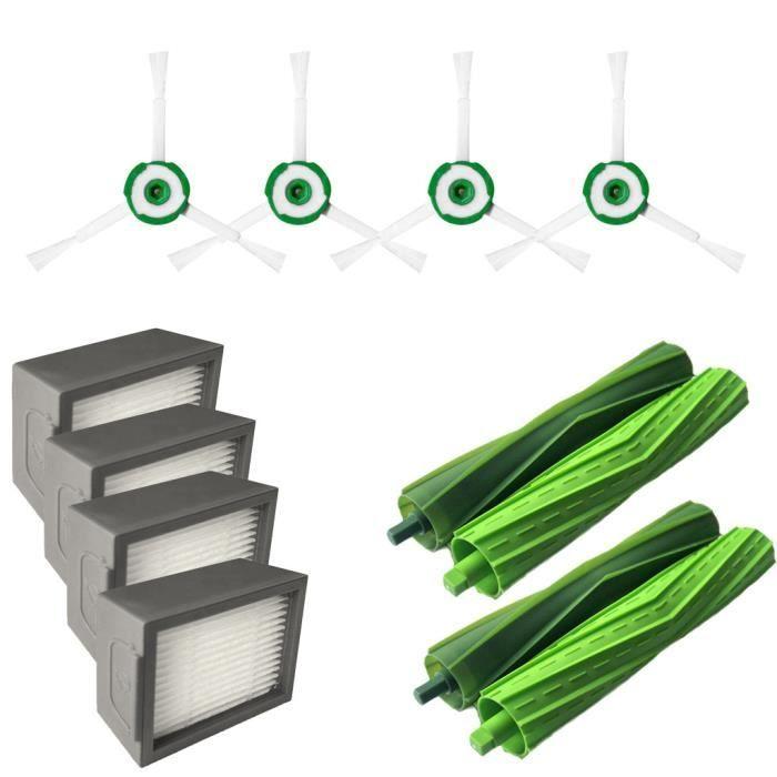 Filtres Brosse Latérale et Hepa et brosse à poils pour iRobot Roomba i7 i7 + / i7 Plus E5 E6 E7