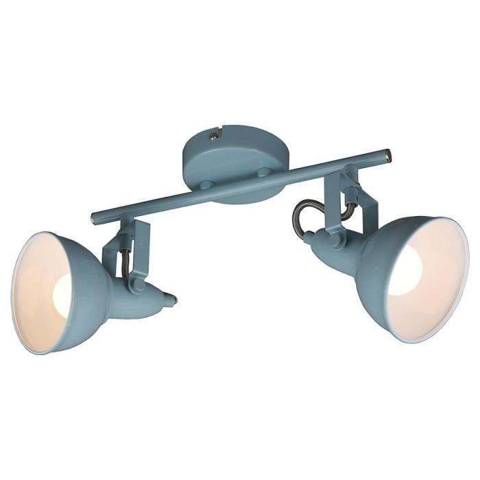 Lampe Salon,No109, Lampe Plafonnier Avec 2 Spots Pivotants Et Orientables Dans Un Design Rétro Vintage – Douilles E14 40w Max –