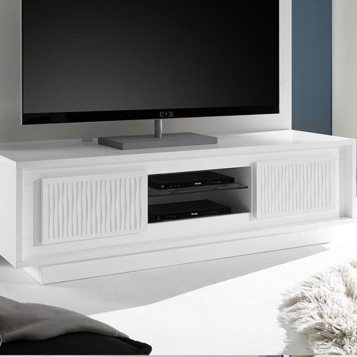 Meuble TV design blanc laqué sérigraphies ERINE 3