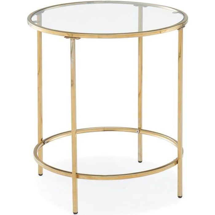 Table basse ronde en verre et métal OLIVE