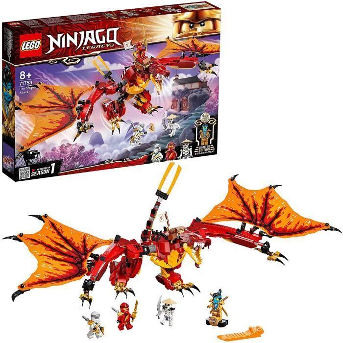 71753 Ninjago L'Attaque du Dragon de feu avec Mini Figurines Kai, Zane et NYA - Jouet Enfant 8 Ans