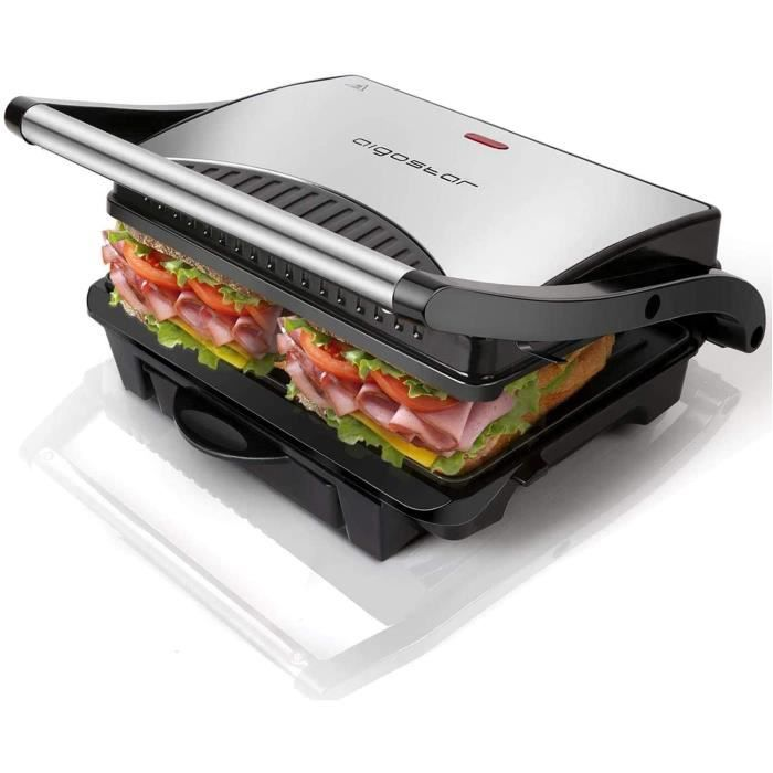 Aigostar Hett 30HHJ - Grill multifonction, plancha, presse à paninis, appareil à sandwichs. 1000W, plaques anti-adhésives, poignée f
