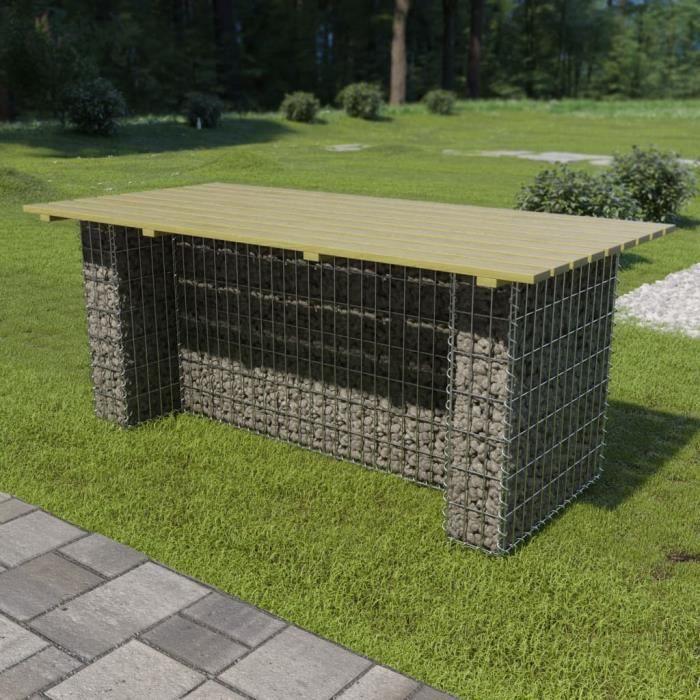 Table de jardin Table basse Table d'appoint avec g Table de jardin avec gabion d'acier 180x90x74 cm Bois de pin♣6735