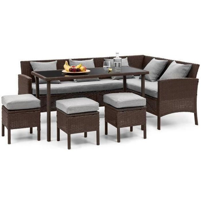 Blumfeldt Titania Lounge Salon de jardin 7 places résine tréssée - table à manger , canapé & 3 poufs - polyrotin marron & gris clair