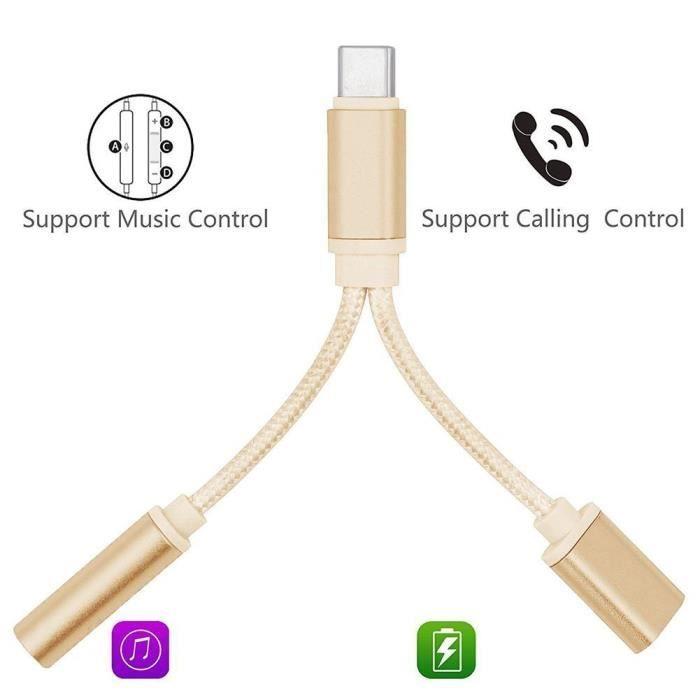 Cabling Usb C Adaptateur Usb C vers Jack Audio Aux 3,5 mm et Chargeur Usb C