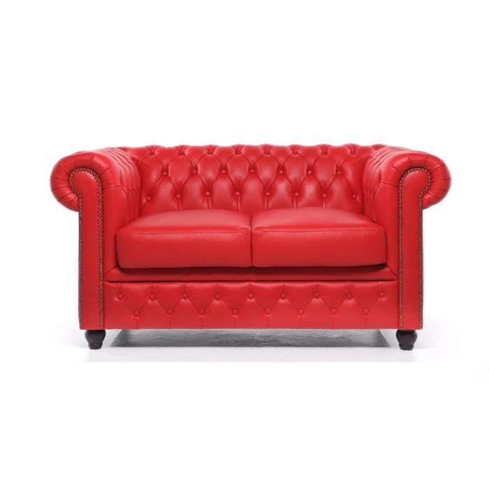 Chesterfield - Canapé Chesterfield Cuir 2 Places Original Brighton - Rouge