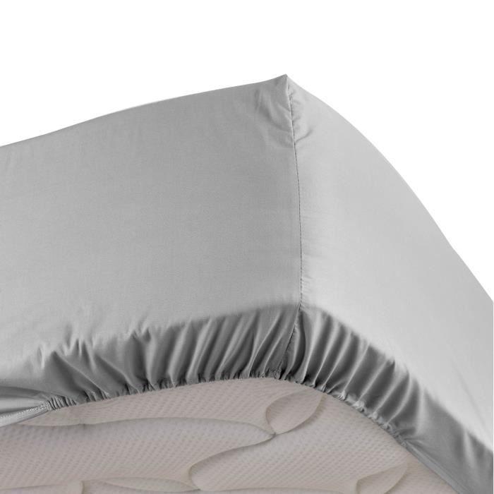 Drap housse gris 140 x 190 cm en percale bonnet 30 cm