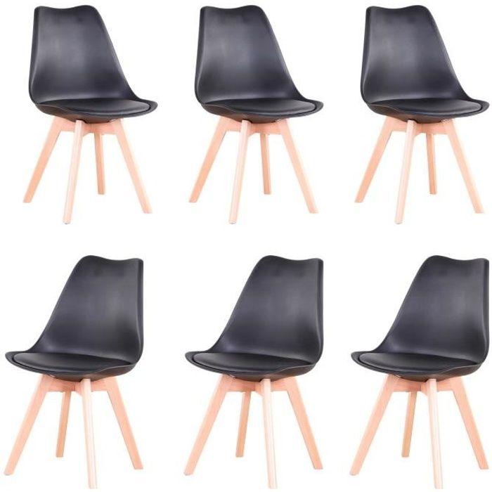 Lot de 6 Chaises Scandinaves Noir Chaise de salle à Manger Design en Similicuir et Bois Massif
