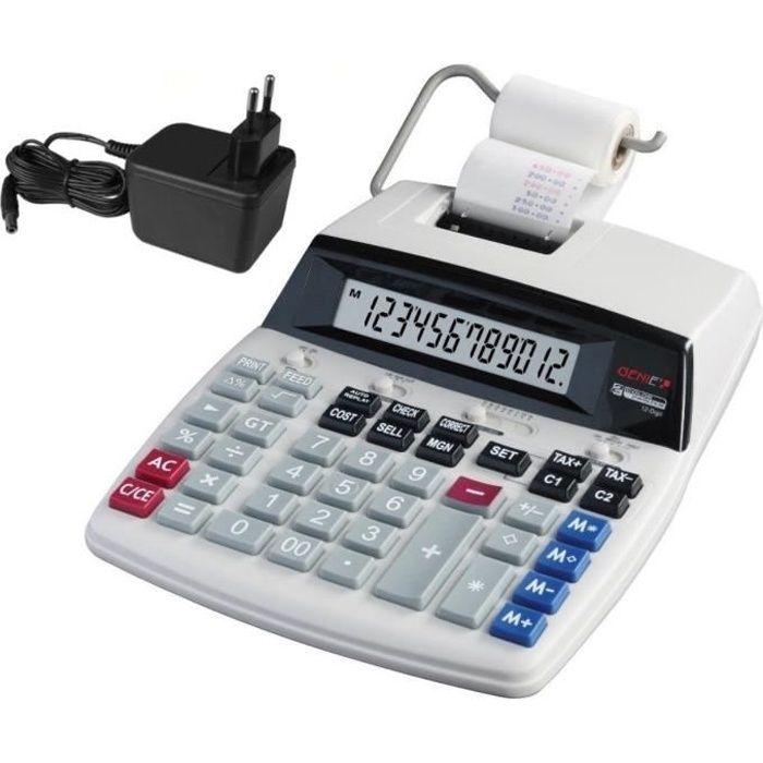Genie D69 Plus Calculatrice avec imprimante Affichage 12 chiffes Impression rouge-noir Gris: Fournitures de bureau