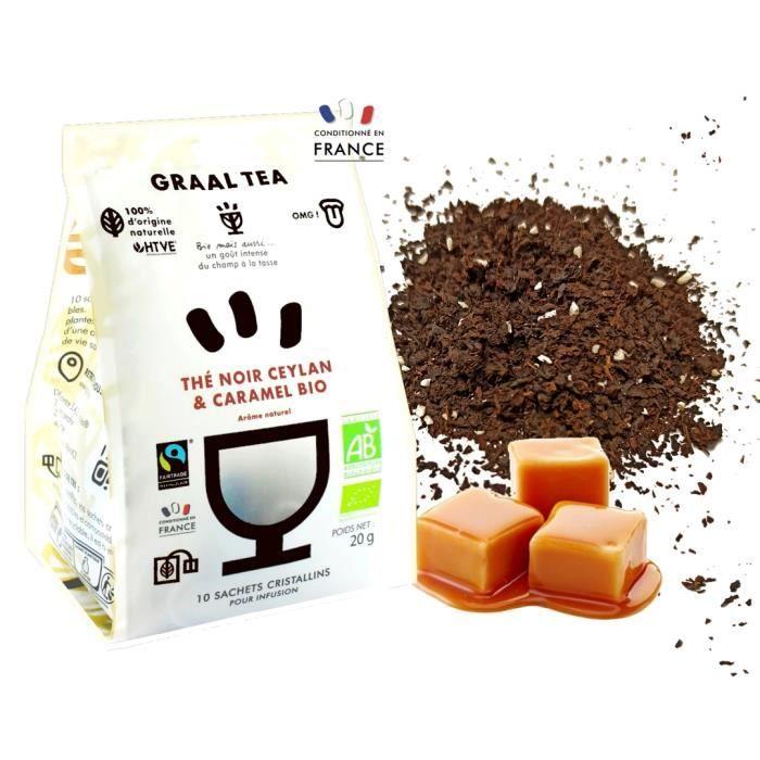 GRAALTEA - Thé Dégustation - Thé noir Ceylan & Caramel BIO en Sachet - 100% d'Origine Naturelle - Made in France - 1 Paquet x 10 Sac