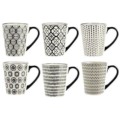 H&H H & H vhera Set de 6 Mugs, grès, Blanc-Noir, 350 ML 5768