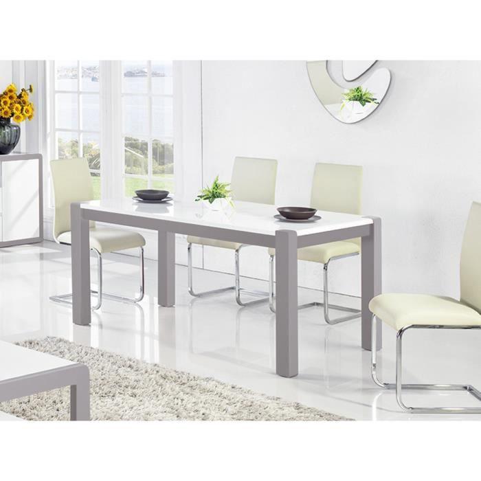 Table à manger laquée JULIA - Blanc / Gris 76