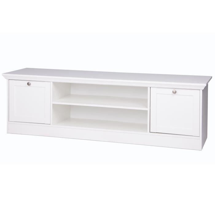 LANDWOOD Meuble TV classique blanc satiné - L 160 cm