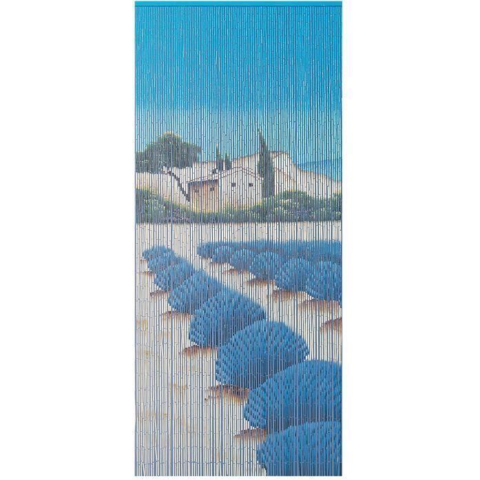 Rideau de porte Lavandin bâtonnets bambou peints - 90x200 cm