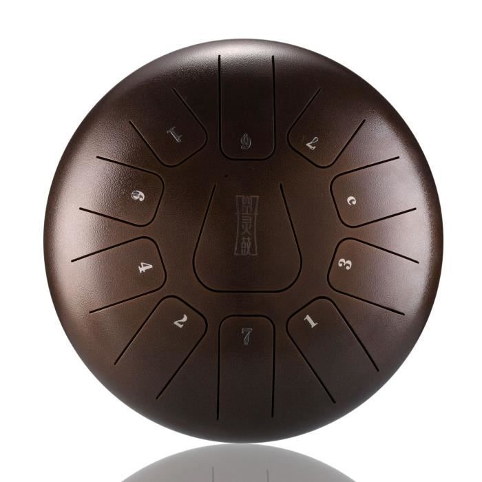 NEUFU 12'' Tongue Drum Kit Aquadrum Air Tambour de Langue Handpan Main 11 Sons Vintage Marron