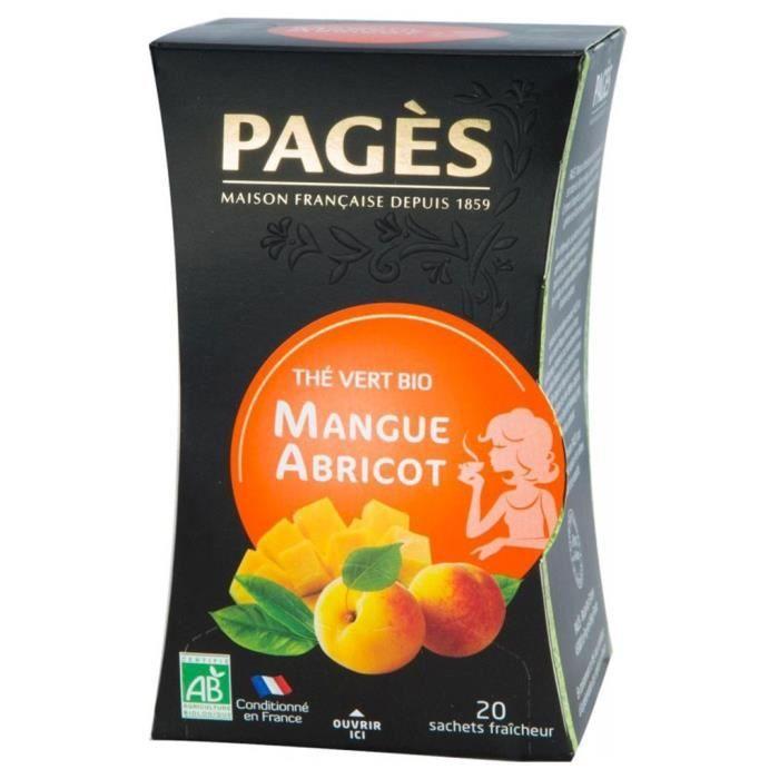 Pages Thé Vert Mangue Abricot Bio 20 sachets (lot de 3)