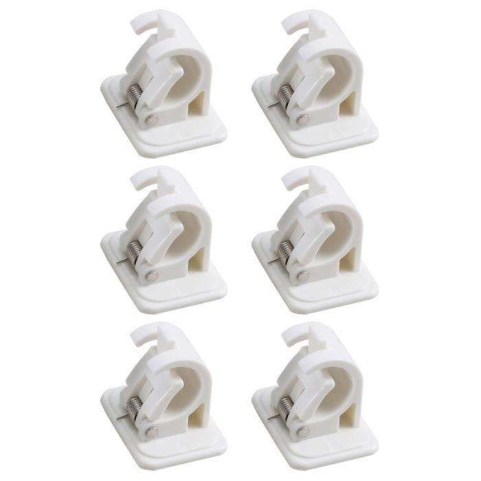 6 pièces porte-tringle à rideau crochets muraux auto-adhésifs pour poteaux de support de tringle à RIDEAU - DOUBLE RIDEAUX