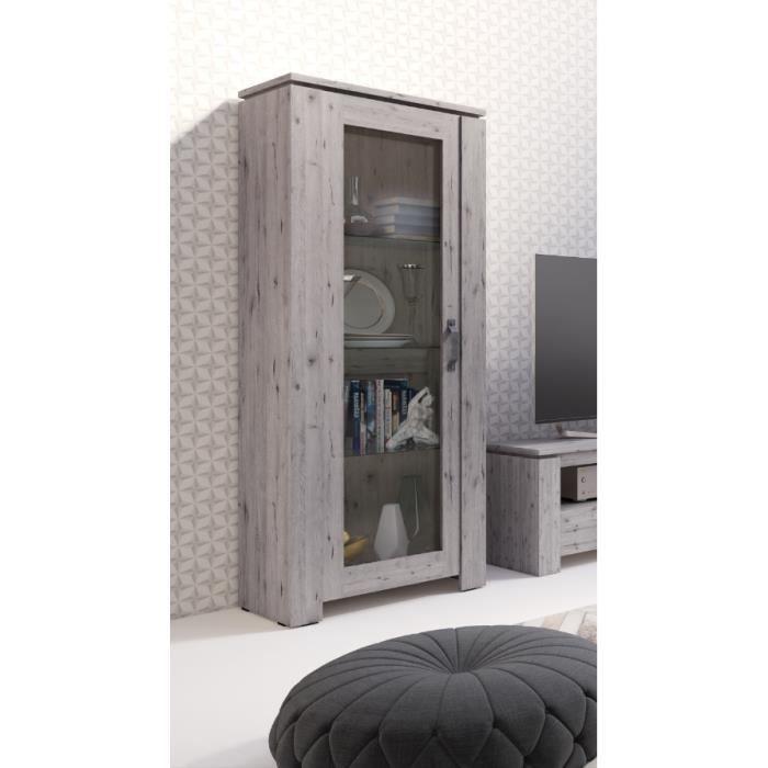 Vitrine petite modèle IRON une porte vitrée. Coloris chêne naturel Wellington. Style vintage et moderne. 44 Marron