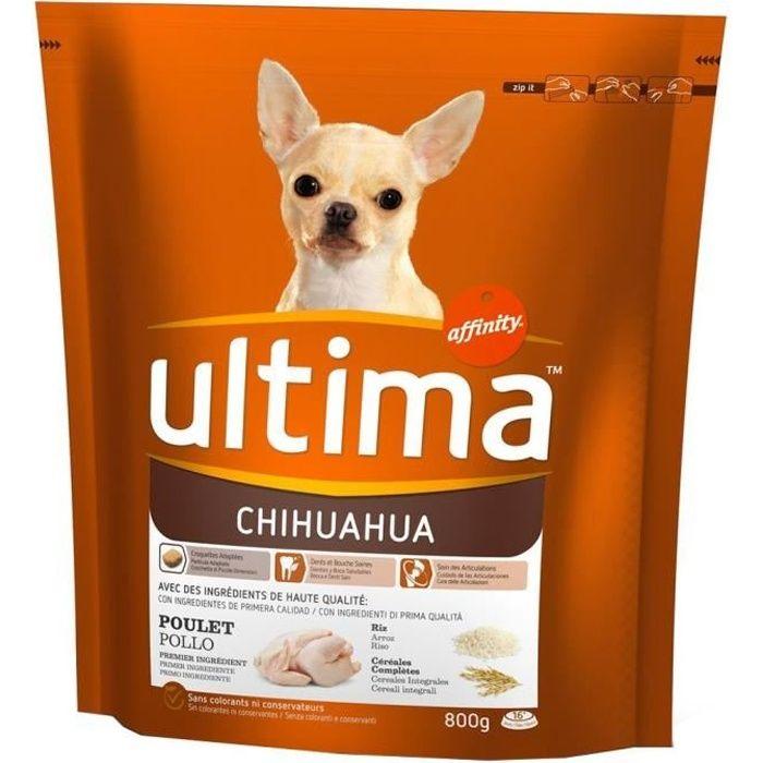 Ultima Croquettes Chihuahua Chiens Poulet Riz Céréales Complètes Format 800g (lot de 3)