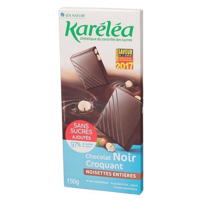 KARELEA Chocolat noir aux noisettes - Sans sucre ajouté - 150 g